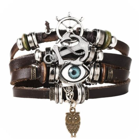 Vintage Multiple Layer Leather Charms Bracelets Eye