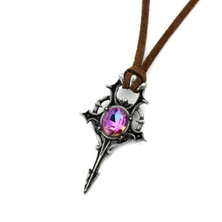 Crystal Sword Cross Pendant with Leather Rope Necklace